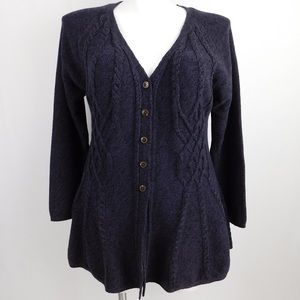 Style & Co Purple Black Cable Knit Button Cardigan